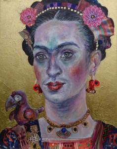 Frida mit präkolumbianischer Figur