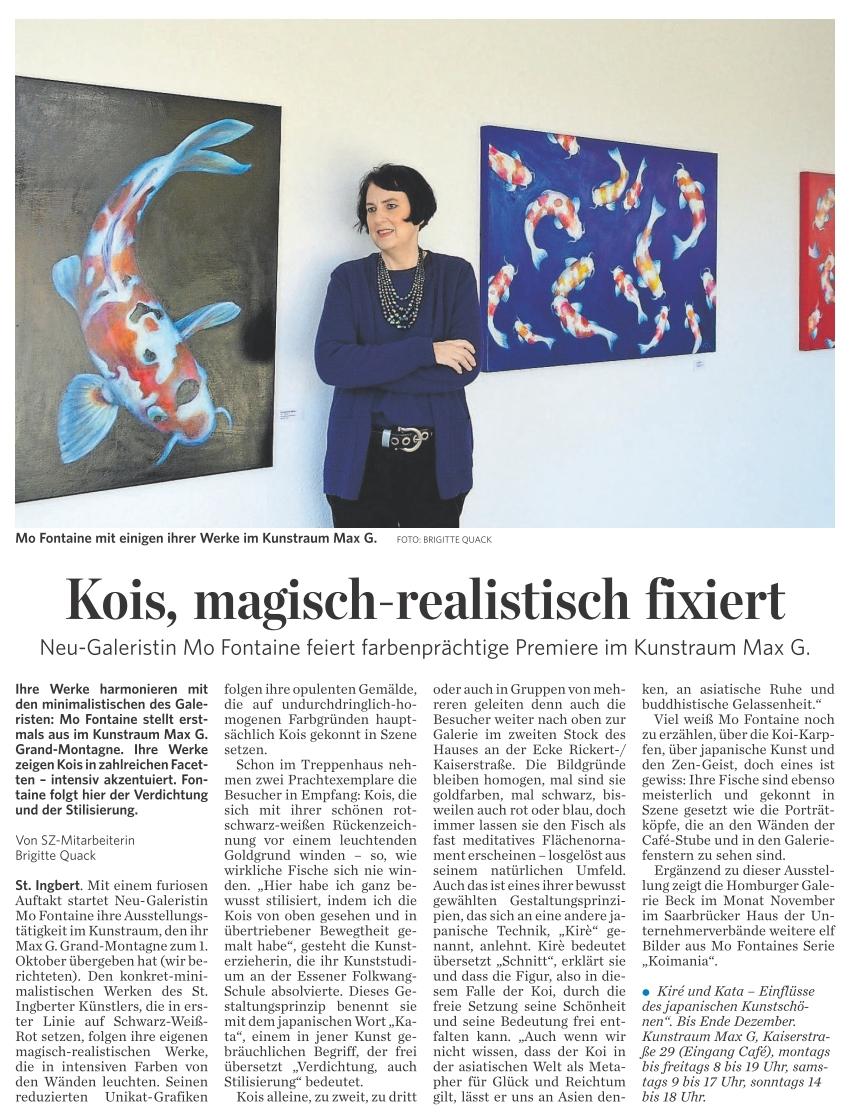 Saarbrücker Zeitung, 21.11.2016, C6: Kois, magisch-realistisch fixiert